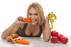 morot som äter kvinnan Fotografering för Bildbyråer