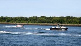 Morotboats na wodzie zdjęcie royalty free