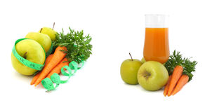 Morotfruktsaft med äpplen och morötter Arkivbilder