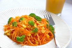 Morotspagetti med nya stycken av broccoli, havre och fruktsaft Arkivbild