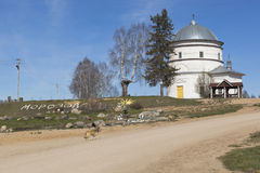 Morozovo village center with a view of the Church of the Intercession of the Holy Virgin in Verkhovazhsky district, Vologda region Stock Photography