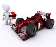 Morph man with open wheeled racing car Stock Images
