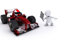 Morph man with open wheeled racing car. 3d render of Morph man with open wheeled racing car Stock Photos
