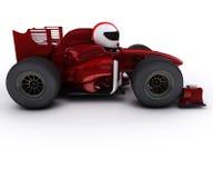 Morph man with open wheeled racing car Stock Photos