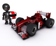 Morph man with open wheeled racing car. 3d render of Morph man with open wheeled racing car Stock Image