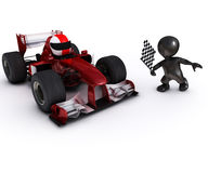 Morph man with open wheeled racing car. 3d render of Morph man with open wheeled racing car Royalty Free Stock Photos