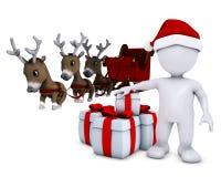 Morph man santa and reindeer Royalty Free Stock Images