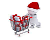 Morph Man with shopping basket Royalty Free Stock Images