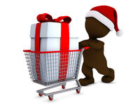Morph Man with shopping basket Royalty Free Stock Photography