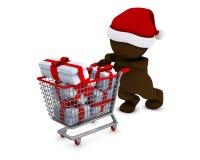 Morph Man with shopping basket Royalty Free Stock Photo