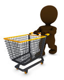 Morph Man with shopping cart Royalty Free Stock Images