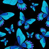 Morpho μπλε πεταλούδα σχεδίων επιφάνειας πεταλούδων η άνευ ραφής επαναλαμβάνει το σχέδιο για το υφαντικό σχέδιο, εκτύπωση υφάσματ διανυσματική απεικόνιση