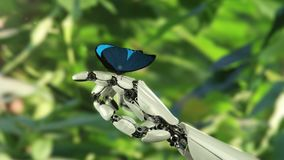 Morpho Menelaus Butterfly Lands op de Robot` s Hand Mooie 3d animatie, 4K zie meer opties in mijn portefeuille stock videobeelden