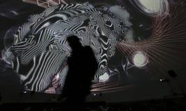 Morphogénèse 360 degrés de dôme d'installation d'arts visuels Photos stock