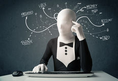 Morphsuit hacker with white drawn line thoughts Royalty Free Stock Photo