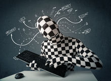 Morphsuit hacker with white drawn line thoughts Royalty Free Stock Image