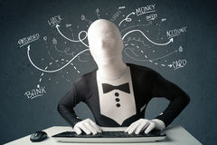Morphsuit hacker with white drawn line thoughts Royalty Free Stock Photos