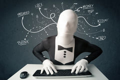 Morphsuit hacker with white drawn line thoughts Stock Image
