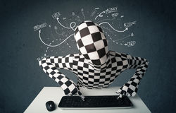 Morphsuit hacker with white drawn line thoughts Royalty Free Stock Images