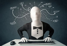 Morphsuit hacker with white drawn line thoughts Royalty Free Stock Photography