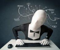 Morphsuit hacker z białymi rysować kreskowymi myślami Zdjęcia Stock