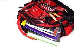 Morral rojo de la escuela Fotografía de archivo libre de regalías