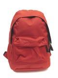 Morral rojo de la escuela en blanco Fotos de archivo