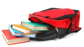 Morral y libros de la escuela Fotografía de archivo libre de regalías