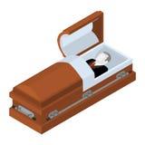 Morrido no caixão Homem inoperante colocado no caixão de madeira Cadáver no Imagem de Stock