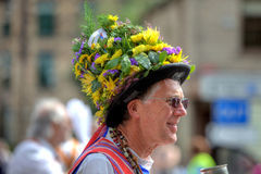 Morris Dancer. Wearing flower decorated hat at the Rushcart Ceremony in Saddleworth, UK on 20th of August, 2011 Royalty Free Stock Images