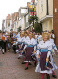 Morris dancers (8). Female Morris dancers in the street, Faversham hop festival, Faversham, Kent, UK stock photo