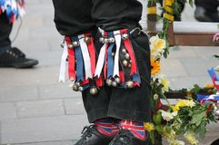 Morris dancers British tradition knee bells Royalty Free Stock Images
