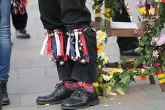Morris dancers British tradition knee bells Royalty Free Stock Photos
