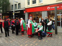 Morris dancers getting ready to perform, Nottingham. Royalty Free Stock Photography