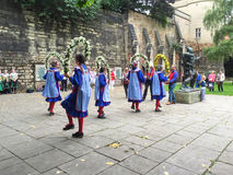 Morris dancers, performing, near Nottingham Castle. Stock Photo