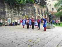 Morris dancers, performing, near Nottingham Castle. Stock Photography