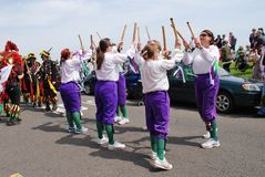 Black Annis Morris dancers, Jack In The Green Stock Photography