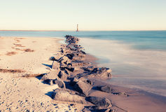 Morris Island Lighthouse bij zonnige ochtend royalty-vrije stock foto's