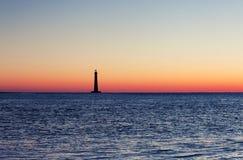 Morris Island Lighthouse bij zonsopgang stock fotografie