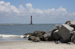 Morris Island Lighthouse. Landscape of Folly Beach in Charleston, SC and the Morris Island Lighthouse Stock Photos