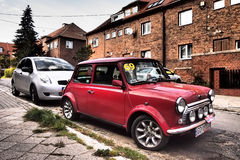 Classic British Car. Old Morris Mini Cooper staying on a street in Gdansk, Poland Stock Image