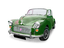 Morris minor. Classic green Morris Minor 1000 (open tourer) with alloy wheels, white background Stock Photos