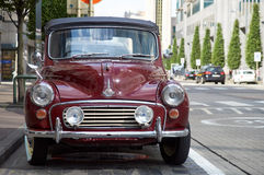 Morris Minor 1000 convertible. Brussels, Belgium - July 31, 2015: Morris Minor 1000 convertible parked in the street of Brussels. The car had no plate stock images