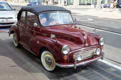 Morris Minor 1000 convertible. Brussels, Belgium - July 31, 2015: Morris Minor 1000 convertible parked in the street of Brussels. The car had no plate royalty free stock photo