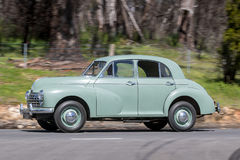 1950 Morris Oxford Sedan. Adelaide, Australia - September 25, 2016: Vintage 1950 Morris Oxford Sedan driving on country roads near the town of Birdwood, South royalty free stock images