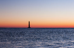 Morris wyspy latarnia morska przy wschodem słońca Obraz Stock