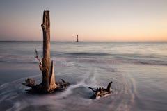 Morris wyspy latarnia morska przy wschodem słońca Zdjęcia Stock