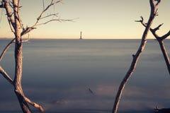 Morris wyspy latarnia morska przy wschodem słońca Fotografia Royalty Free