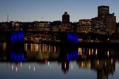 Morrison Bridge at evening. Morrison Bridge Portland Oregon at evening Stock Photography