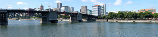 Morrison bridge panorama, Portland OR. Stock Image